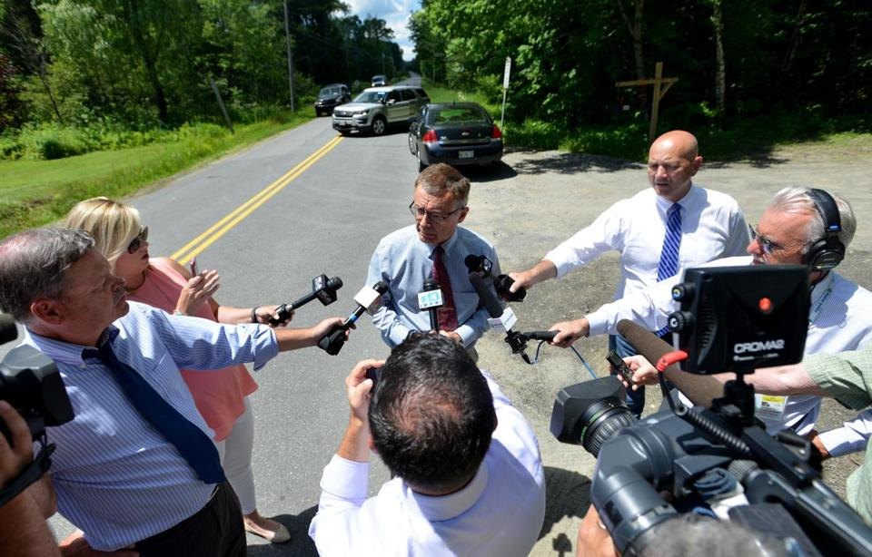 06maine - SKOWHEGAN, MAINE - JULY 5, 2017 Steve McCausland, Public Information Officer for the Maine State Police, speaks with reporters about an a multiple homicide on Russell Road at the town line of Skowhegan and Madison on Wednesday, July 5, 2017. (Staff photo by Michael G. Seamans/Portland Press Herald Staff Photographer)