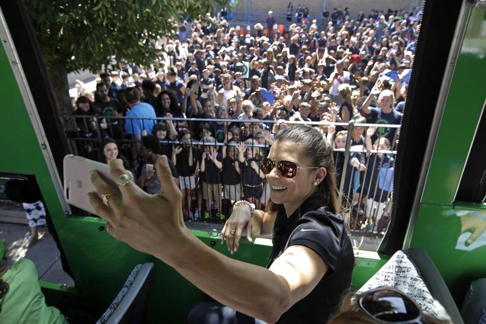 Danica Patrick, in Boston in June, took a selfie before a trolley tour with some students from Warren-Prescott School in Charlestown.