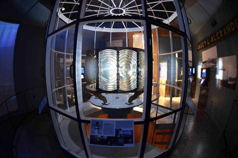 The original 1874 Fresnel lens of Cape Elizabeth Light.
