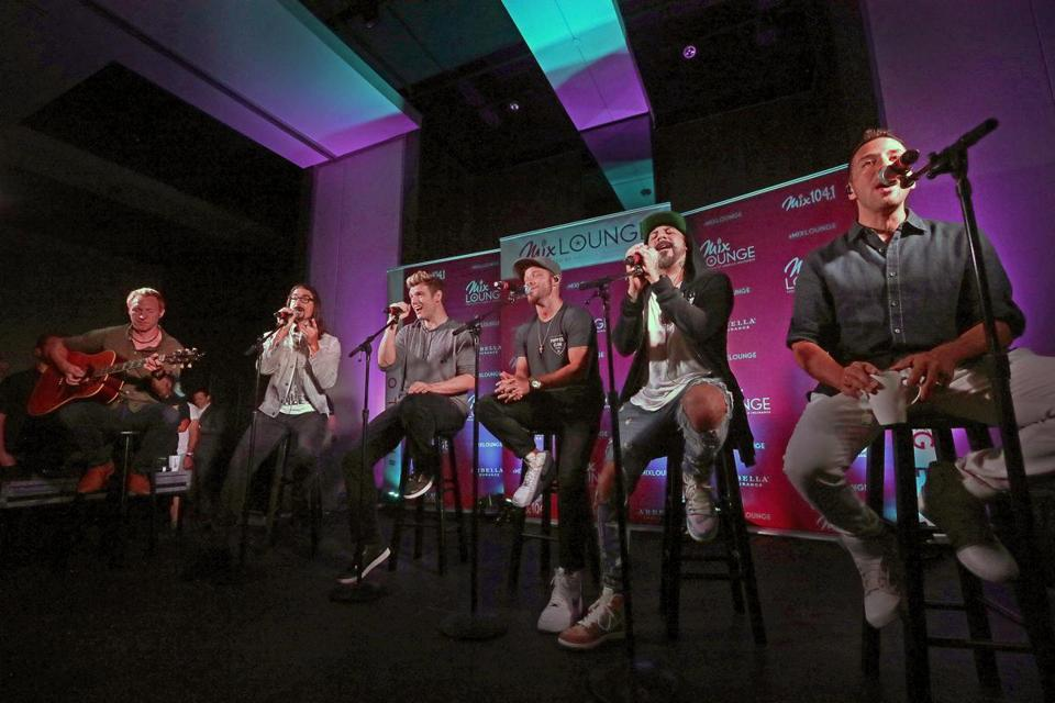 The Backstreet Boys performed at the Revere Hotel on Friday for an audience of Mix 104.1 contest winners.