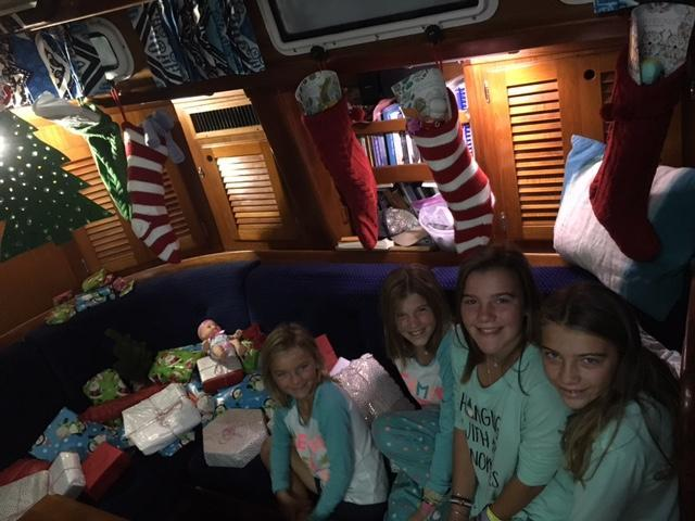 Christmas morning for the Crosby family, aboard Yankee Lady.