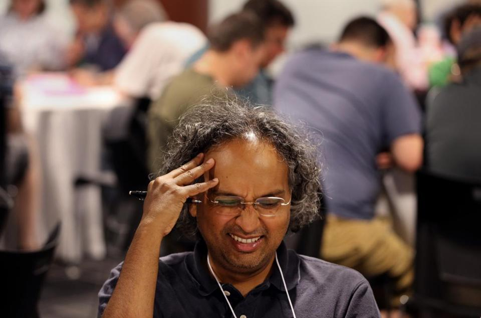 The National Puzzlers' League convention brought puzzled looks to a lot of faces, including that of Kiran Kedlaya.