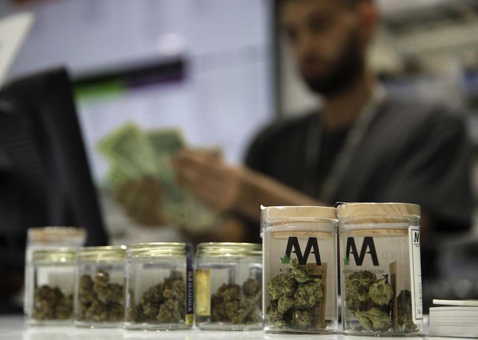 A cashier rang up a marijuana sale at a cannabis dispensary in Las Vegas earlier this month.