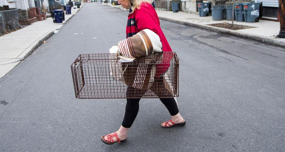 Carole Pollastrone with a cat trap in Chelsea, where she often catches strays.
