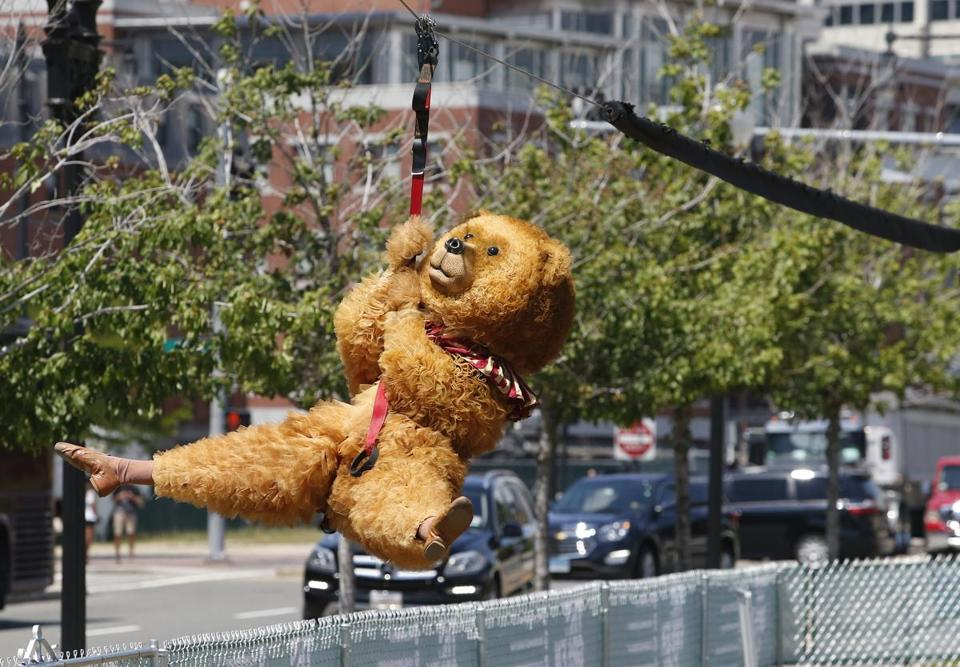 "The Boston Ballet's ""Nutcracker"" bear rode The Z, the Rose Kennedy Greenway's zipline."