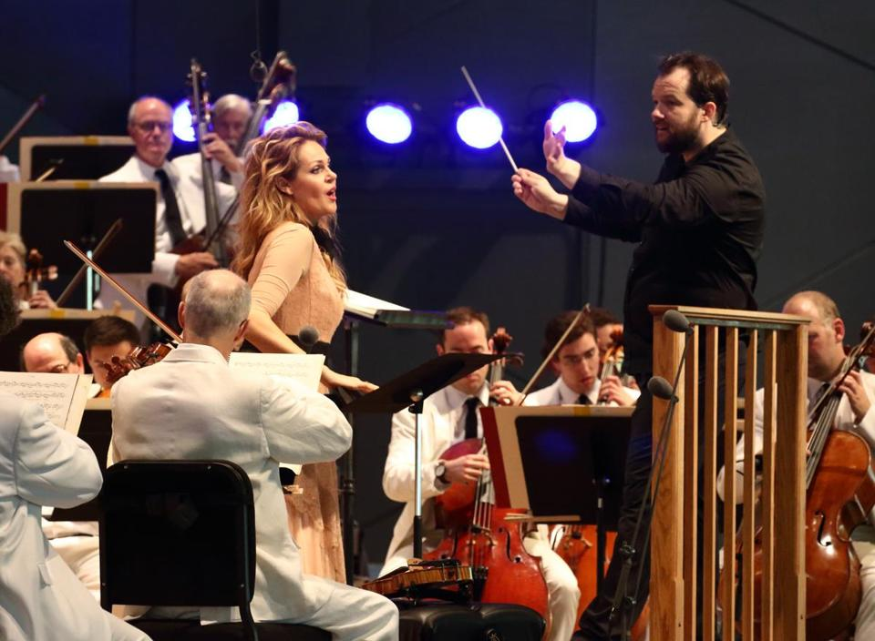 Kristine Opolais (center) sings with the BSO at Tanglewood.