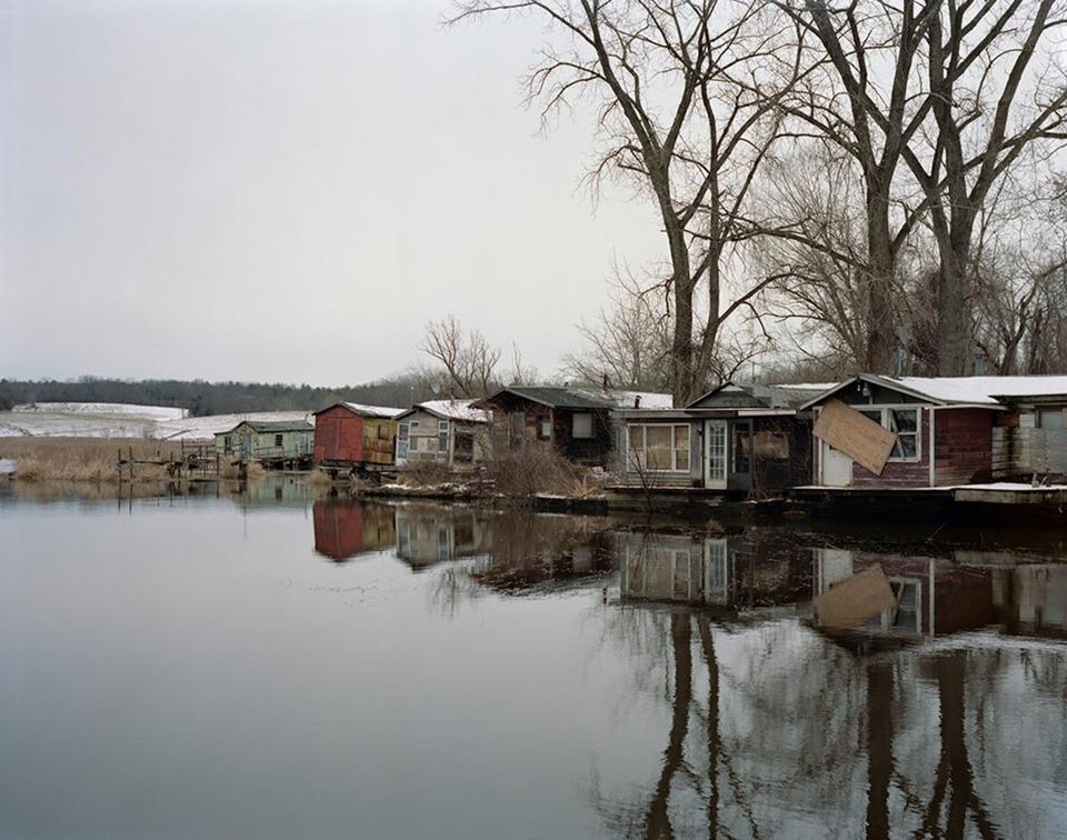 "Tema Stauffer's ""Fishing Shacks, Hudson, New York."""