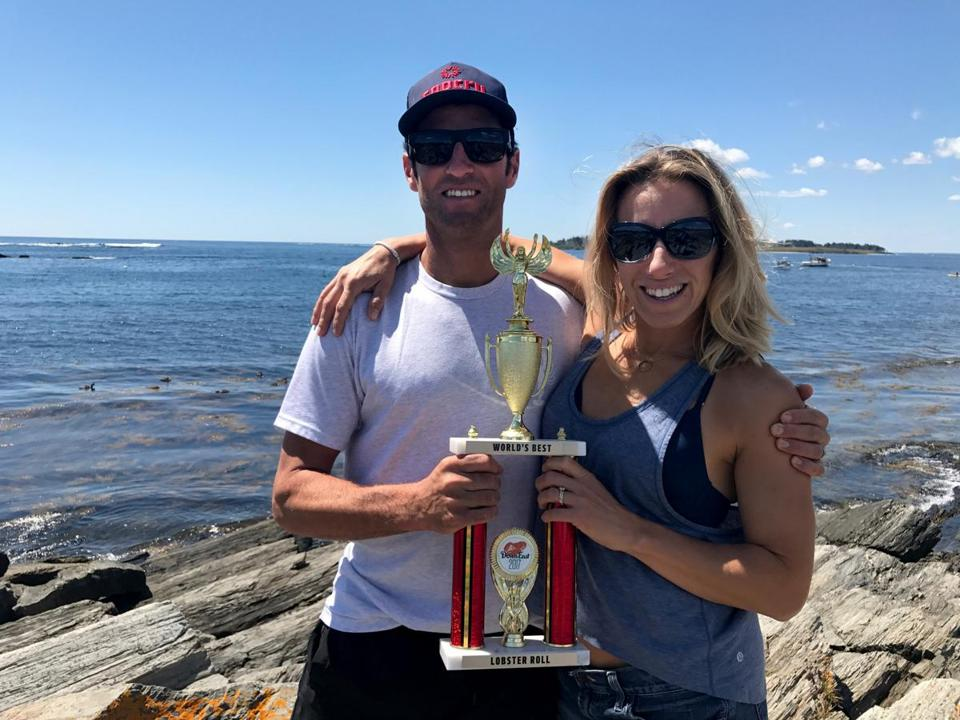 Ben and Lorin Smaha of Park City, Utah, took top honors in last weekend's World's Best Lobster Roll competition in Portland, Maine. Both have New England roots.
