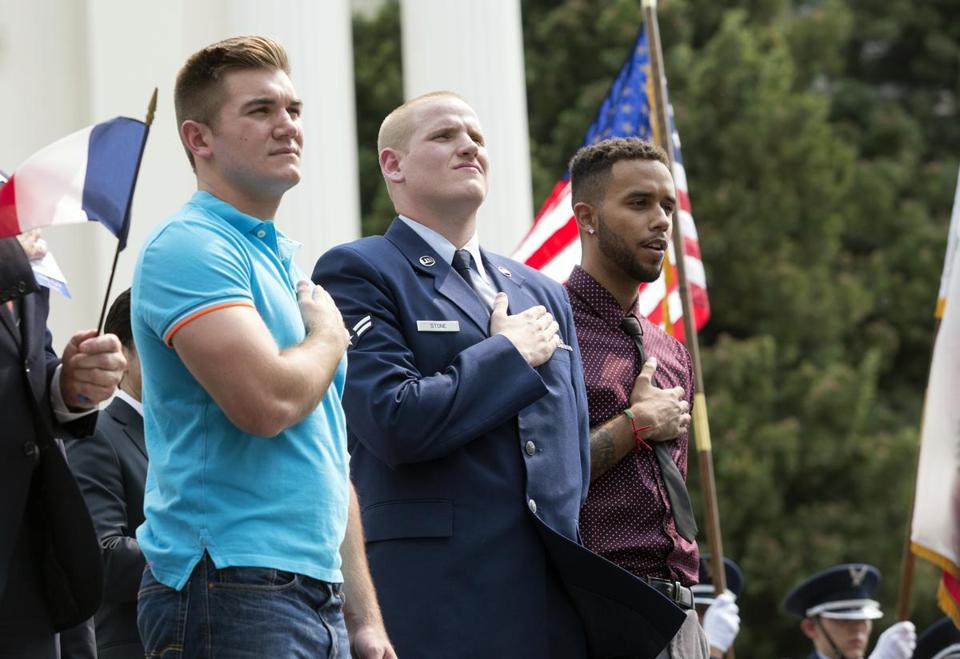 "In this Sept. 11, 2015 file photo, Oregon National Guardsman Alek Skarlatos, left, U.S. Airman Spencer Stone, center, and Anthony Sadler attend a parade held to honor the three Americans who stopped a gunman on a Paris-bound passenger train, in Sacramento, Calif. The three Sacramento-area men who thwarted a terror attack on a French train in 2015 will play themselves in a Clint Eastwood-directed film about their heroic feat. Sadler, Skarlatos, and Stone will star in ""15:17 to Paris,"" which began production this week. (AP Photo/Carl Costas, File)"