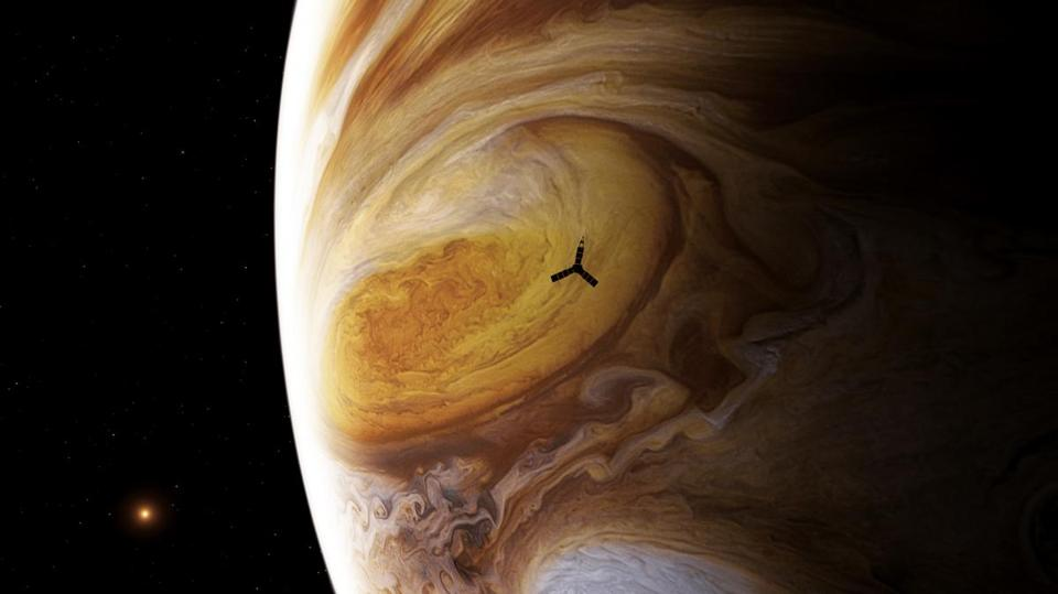 An artist's conception of the Juno spacecraft flying over the Great Red Spot. The image of Jupiter is not a painting — it's a mosaic made from real data taken by the Voyager spacecraft.