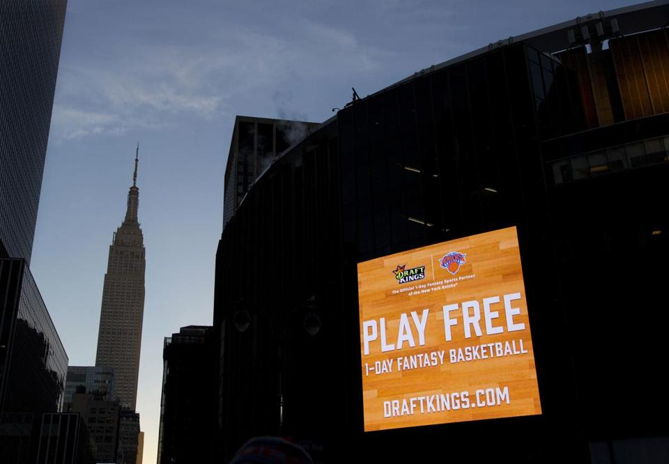 An electronic advertisement for DraftKings hung on the side of Madison Square Garden in New York.