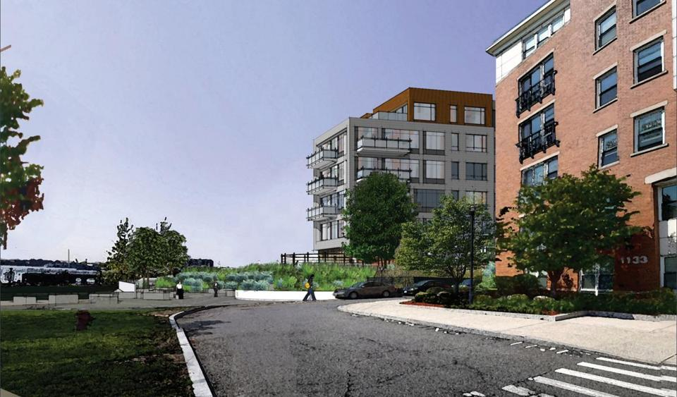 A rendering of a proposed 119-unit condominium complex in East Boston, near Maverick Square.