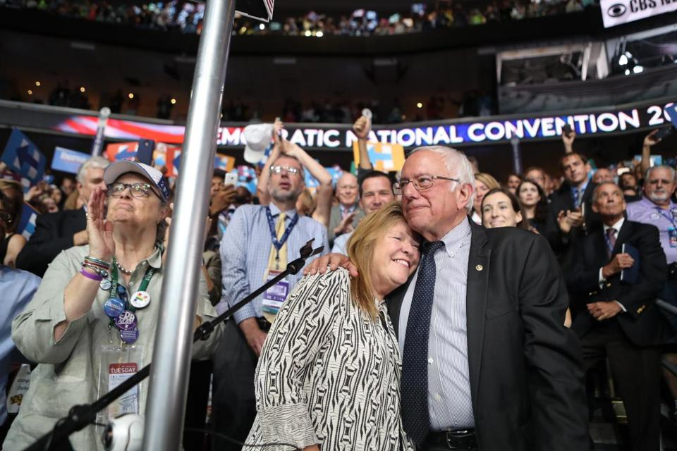 Jane and Bernie Sanders at last year's Democratic National Convention.