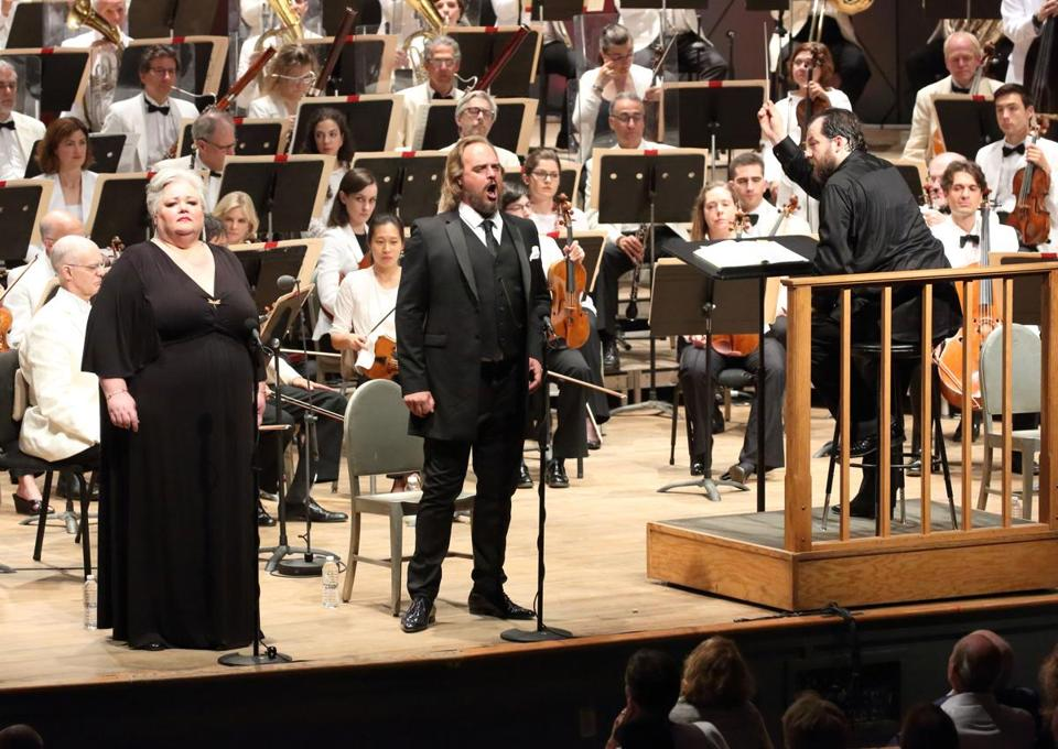 Stephanie Blythe and Thomas J. Mayer performing with Andris Nelsons (right) and the BSO.