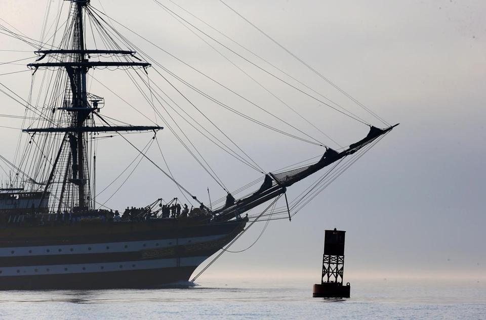 The Tall Ship Amerigo Vespucci entered Boston Harbor on Tuesday.