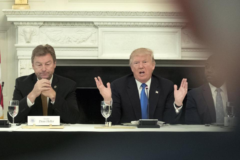 President Donald J. Trump delivered remarks on health care and Republicans' inability thus far to replace or repeal the Affordable Care Act while Sen. Dean Heller looked on.