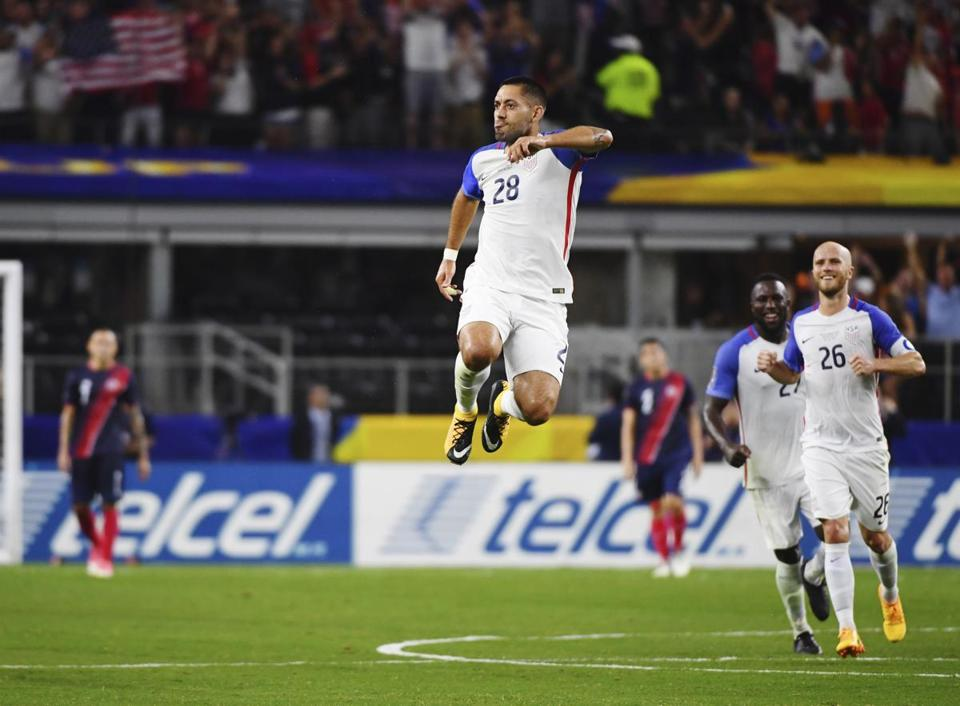 US striker Clint Dempsey celebrated his historic goal.