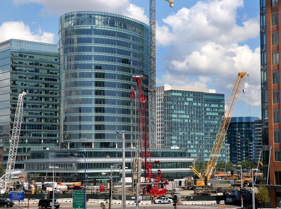 Another condo building is being built in the Seaport — one of Boston's booming construction areas, as seen last month.