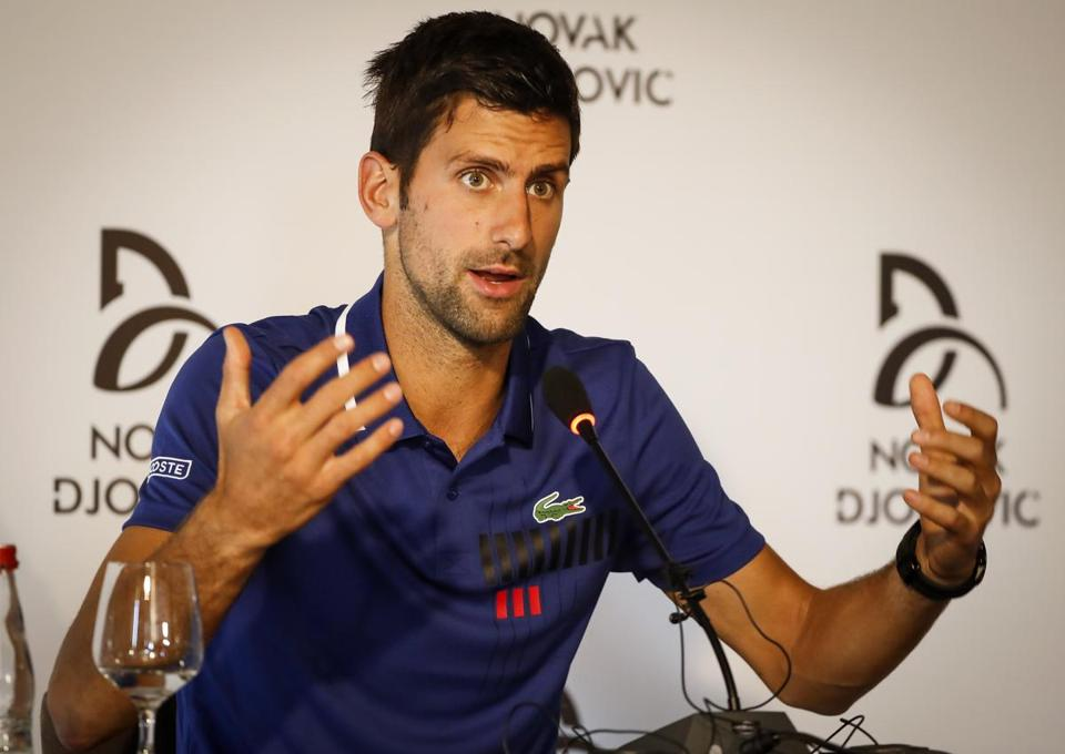 BELGRADE, SERBIA - JULY 26: Novak Djokovic speaks to the media during the press conference at Novak Tennis Center on July 26, 2017 in Belgrade, Serbia. Twelve-time Grand Slam champion Djokovic has said he will not play again in 2017 because of an elbow injury. (Photo by Srdjan Stevanovic/Getty Images)