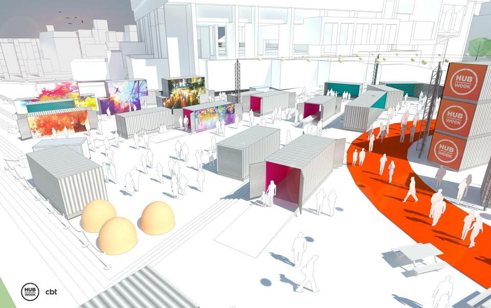 A concept of HUBweek 2017 at City Hall Plaza.