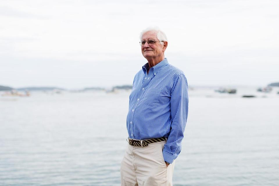 Stonington, ME, United States -- Former Bowdoin College President Robert Edwards was photographed near his summer home in Stonington, ME on Thursday, July 27, 2017. Edwards, who resides in Edgecomb, Maine, was president when Bowdoin College banned fraternities. Twenty years late, a Harvard University panel cites Bowdoin College as an example. (Yoon S. Byun for the Boston Globe) Slug: 28bowdoin Reporter: Laura Krantz LOID: 8.3.3242987416