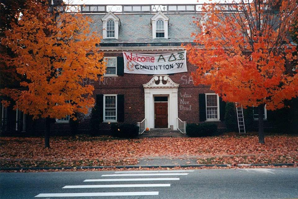 Bowdoin Fraternity in the 1990's - The Alpha Delta Phi house at Bowdoin College in October 1997, when the fraternity hosted a national convention. Photo/Nessa Burns Reifsnyder