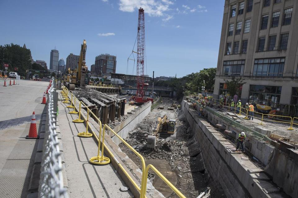 Boston, MA - 7/30/2017 - Construction is done on the site of the Commonwealth Avenue Bridge as part of a rebuilding project in Boston, MA, July 30, 2017. Interstate 90 will be reduced to two lanes of traffic each way through Boston while workers rebuild the Commonwealth Avenue Bridge overhead. (Keith Bedford/Globe Staff)