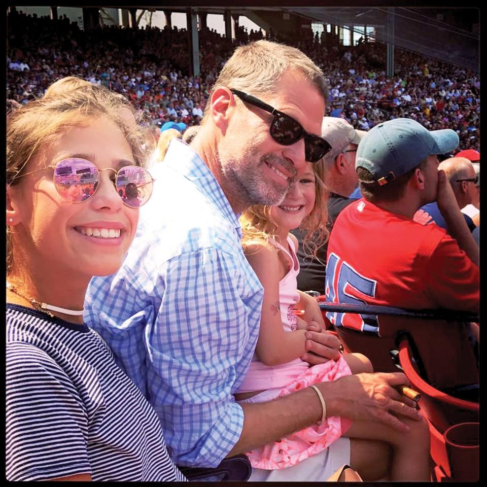 Felger and daughters Emma and Tess at Fenway Park.