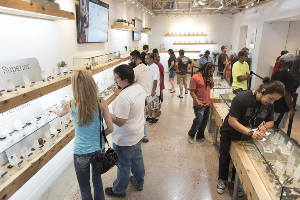 Customers shop at The Source cannabis dispensary in Las Vegas, Nev. on July 28, 2017.