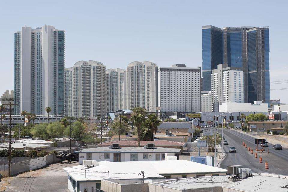 Hotels and condos along the Strip in Las Vegas, Nev. are seen on July 29, 2017. ()
