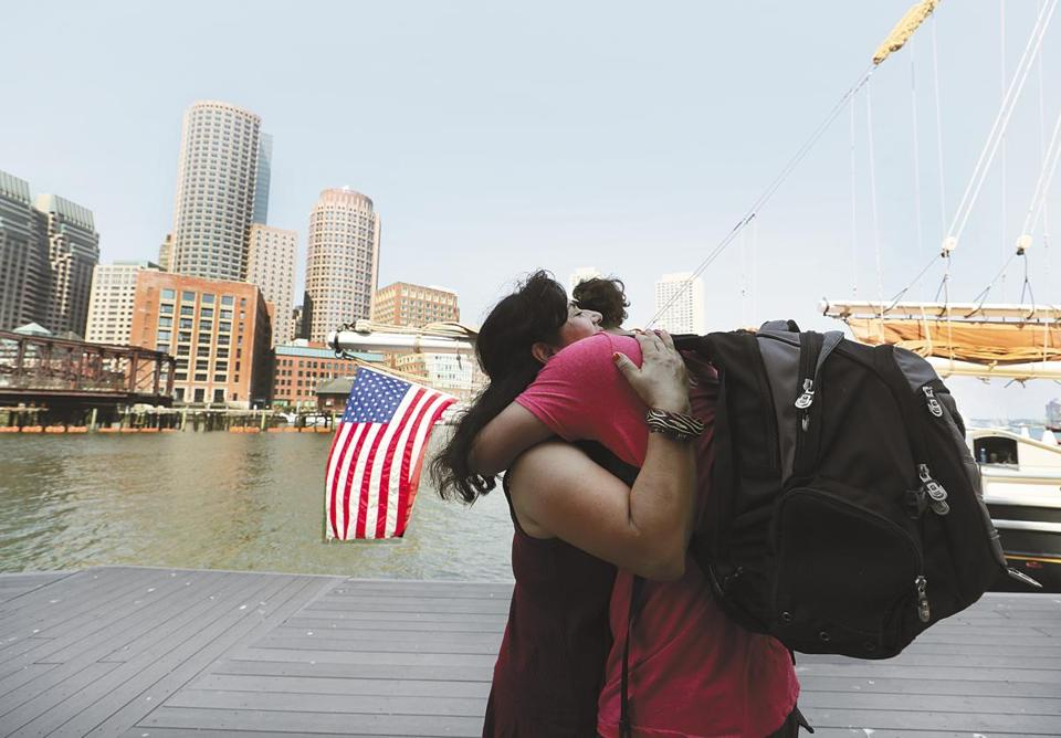Ana Contreras greeted son Antonio Tello after his return to land from the Boston Day and Evening Academy's three weeks at sea.