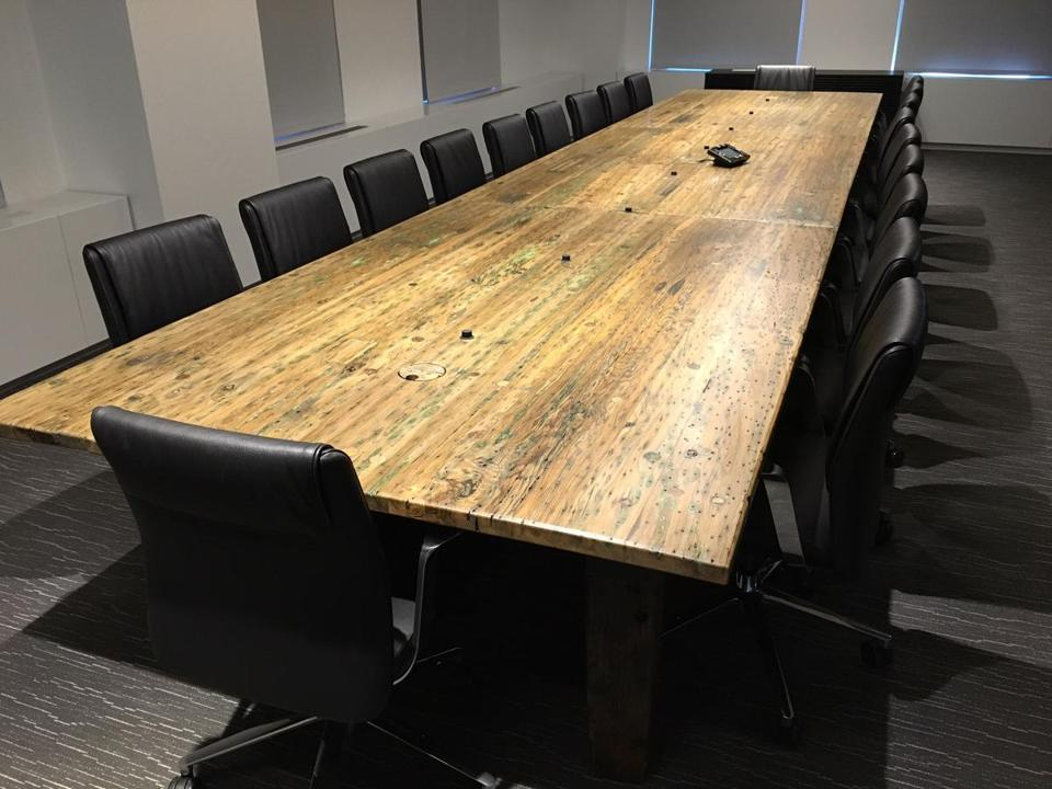 Conference table made from the boards of Seaport shipwreck.
