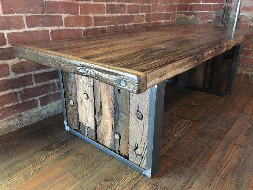 A coffee table made from the ceiling boards of the Seaport shipwreck.