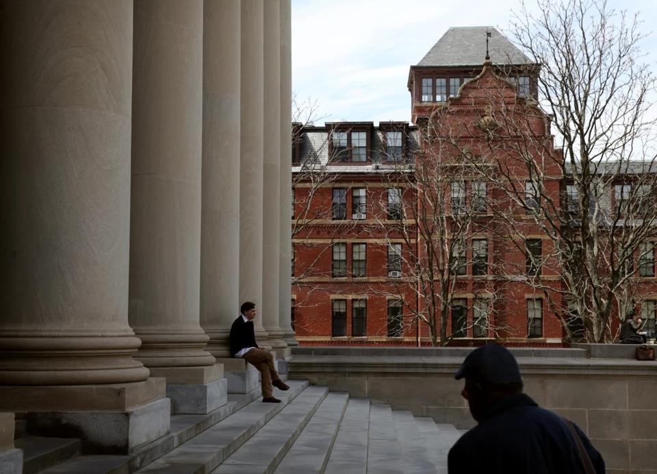 Cambridge, MA- May 04, 2017: Steps to the Harry Elkins Widener Memorial Library in Harvard Yard in Cambridge, MA on May 04, 2017, MA on May 04, 2017. (Globe staff photo / Craig F. Walker) section: metro reporter: