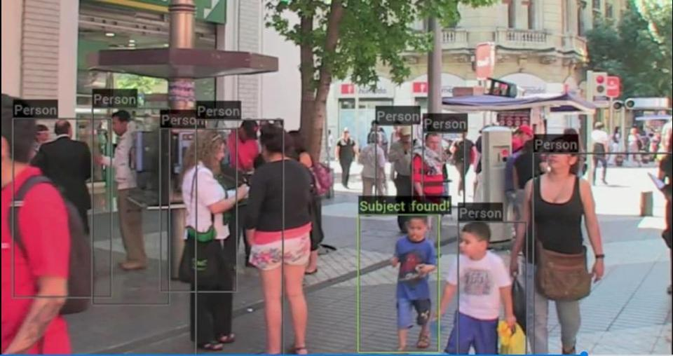 This simulation shows how a Neurala-powered police body cam could be used to identify a missing child amid a crowd of people.