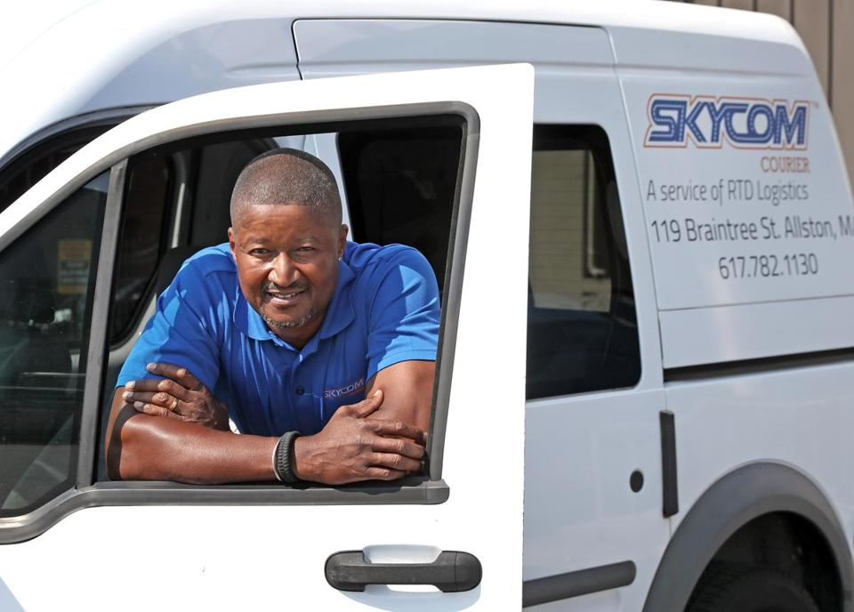 "A Los Angeles native, Scott Baker worked with two partners to launch a courier service called Skycom. ""I found Boston to be a very parochial place,"" he said."