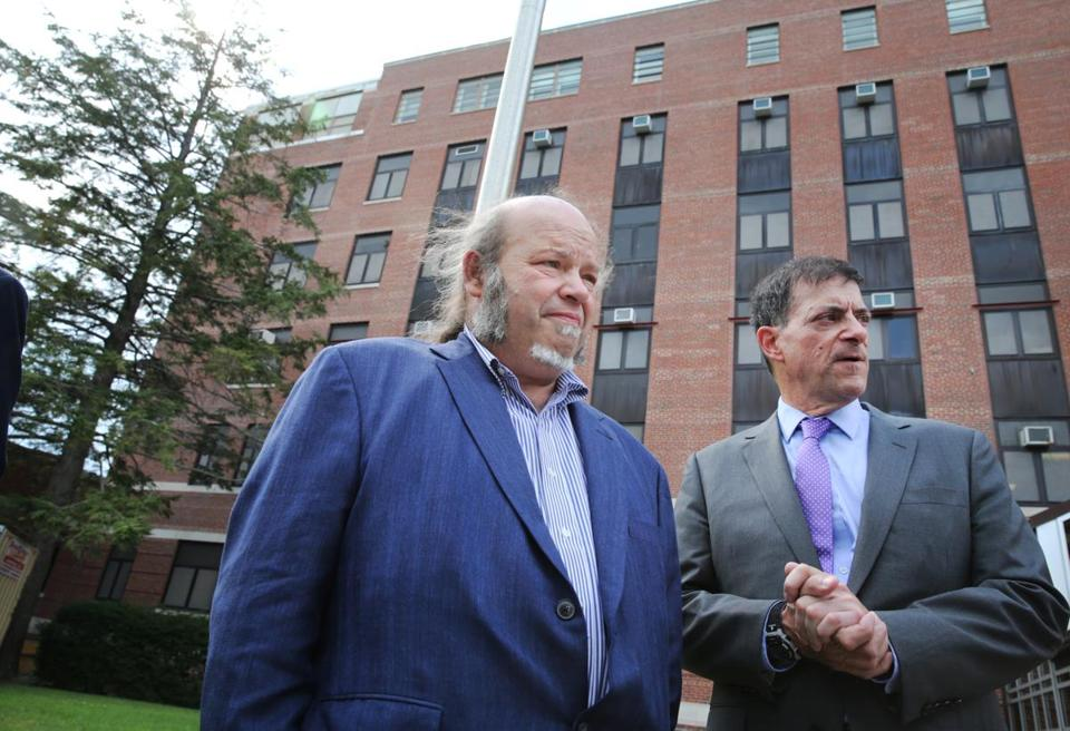 Manchester, NH- August 04, 2017: Whistle bowers Ed Kois , left, (head of Manchester VA's spinal cord clinic) and Stewart Levenson (retired chief of medicine at the Manchester VA hospital), prepare to depart after talking with the media outside the VA Medical Center in Manchester, NH on August 04, 2017. (CRAIG F. WALKER/GLOBE STAFF) section: metro reporter: