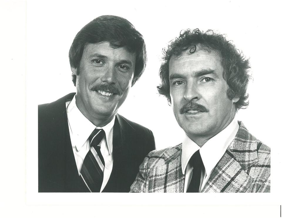 Undated photo of Dick Albert and Bob Copeland. (Probably from the late 1970s). (Received fromTerry Ann Knopf, who said that Ch. 5 (Ro Dooley) gave permission to use.