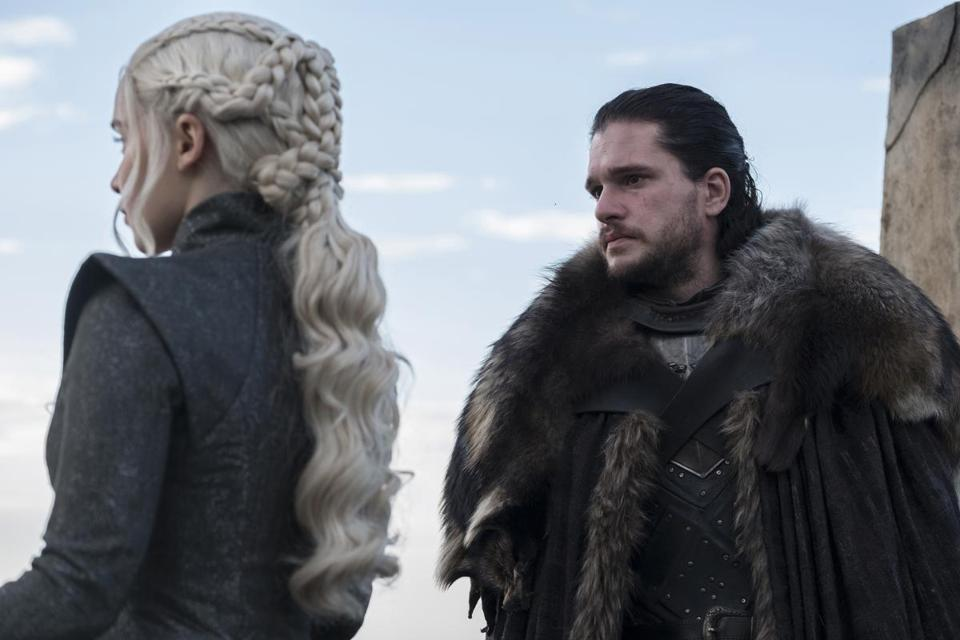 "Daenerys (played by Emilia Clarke) and Jon Snow (Kit Harington) in a season 7 episode of ""Game of Thrones."""