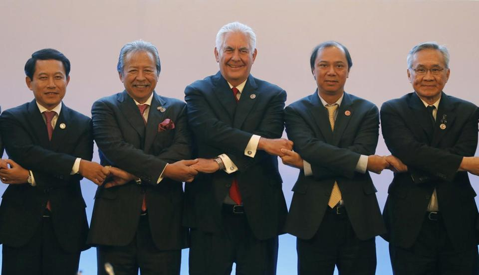Secretary of State Rex Tillerson (center) joined ASEAN foreign ministers at the ASEAN-US Ministerial meeting in Pasay, a suburb near Manila, on Sunday.