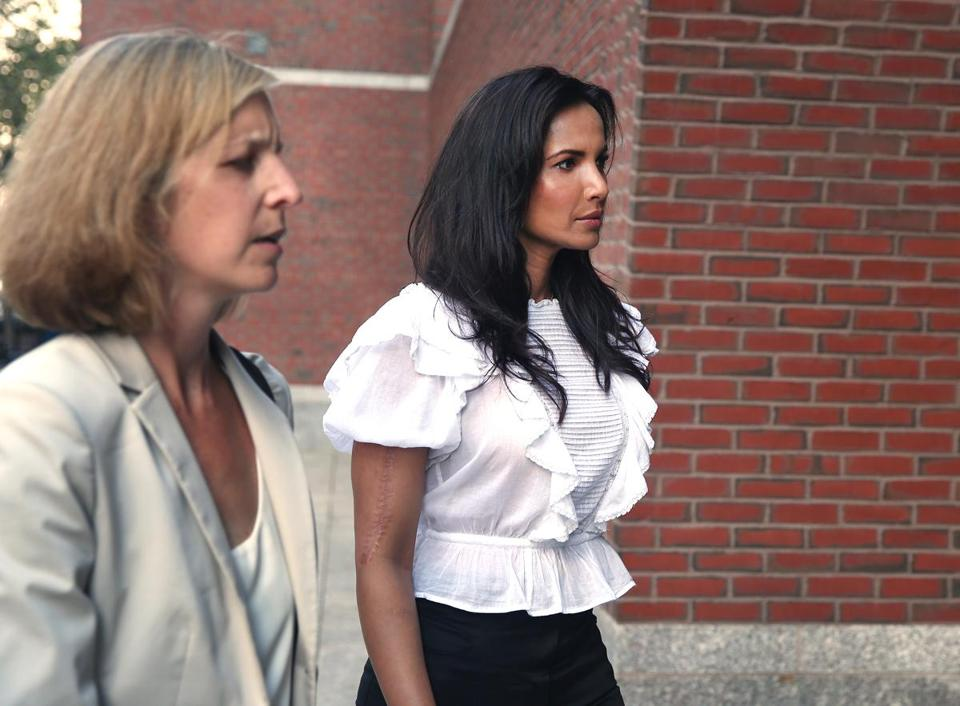 Top Chef host Padma Lakshmi, right, arrived at the John Joseph Moakley Courthouse in August 2017 to testify in the teamsters trial.