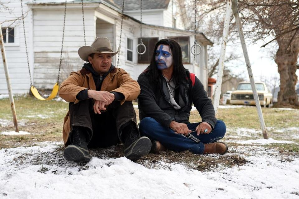 "Jeremy Renner (left) and Gil Birmingham in ""Wind River."""