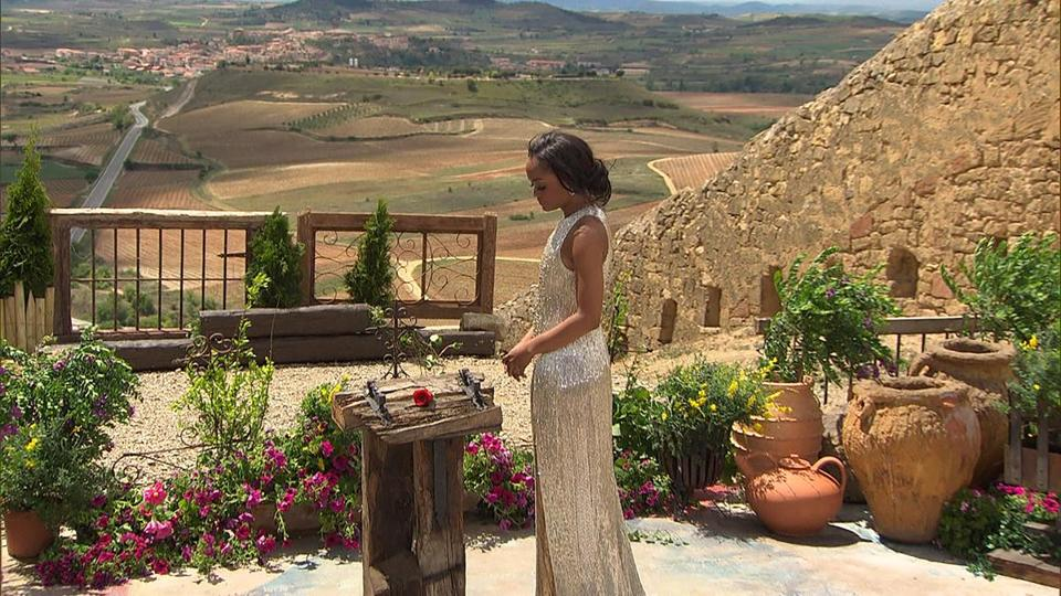"""The Bachelorette"" Rachel Lindsay during the season finale in Rioja, Spain. The three-hour finale aired on ABC Aug. 7, 2017."