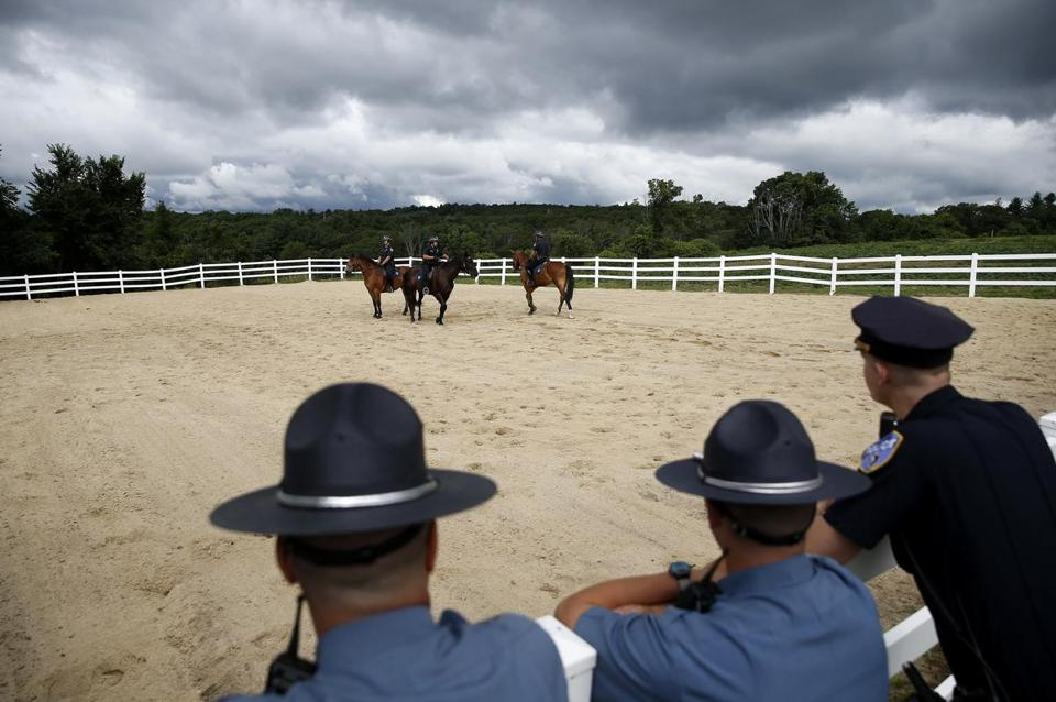 Worcester's Mounted Patrol Unit participated in a ceremonial ride Tuesday.