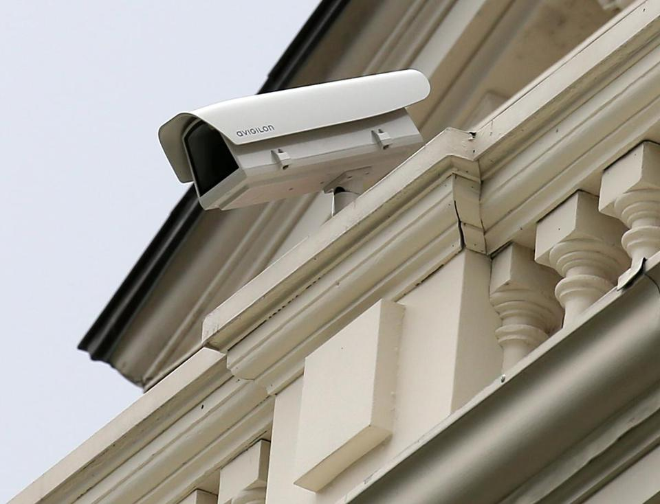 A surveillance camera has been added to the front of the State House facing Beacon Street.