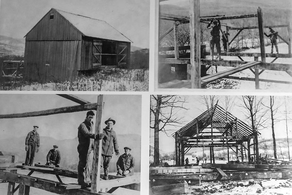 Dorset VT 8/7/17 A 1929 image of the construction of the Dorset Playhouse hanging on a wall at the Dorset Theatre Festival in Dorset, Vt, Monday, August 7, 2017. The frames from two separate barns were joined together to construct the playhouse. The company is becoming a major player north of the Berkshires during the summer theater season.CREDIT: Courtesy of the Dorset Historical Society