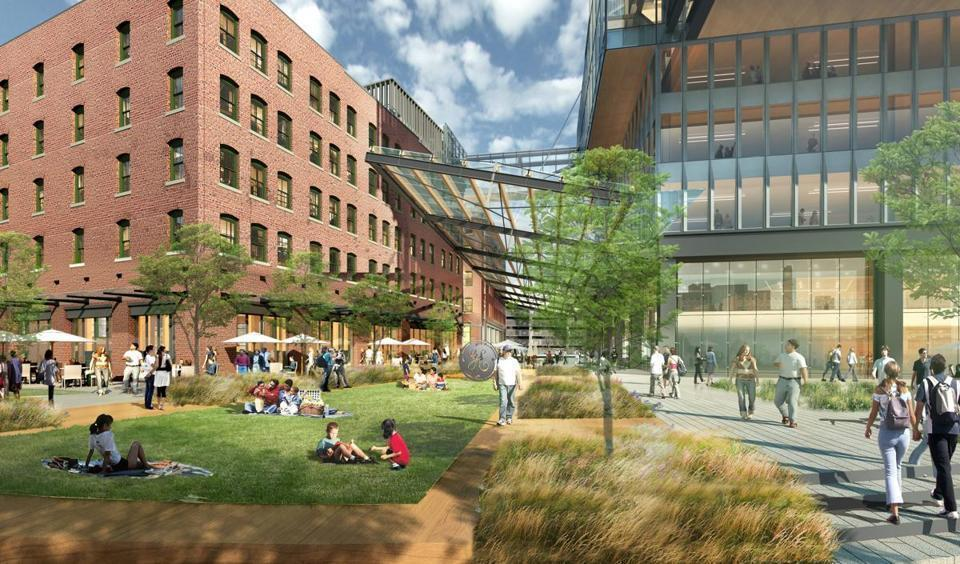 General Electric plans to renovate two brick building as part of its new headquarters in Boston's Fort Point area. A new 12-story tower is now slated to open in 2021.
