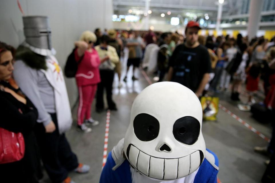 "Eva Marciano, 13, of Beverly dressed as Sans from ""Undertale."""