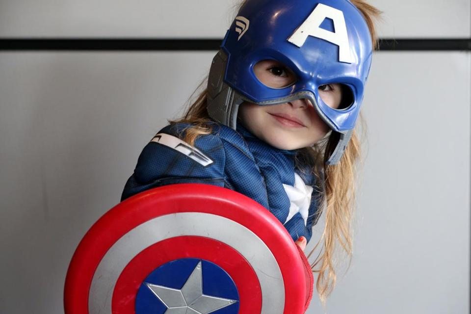 "Sophia Murphy, 4, of Andover dressed as Captain America. She said she likes Captain America because ""he flings his shield and protects people."""