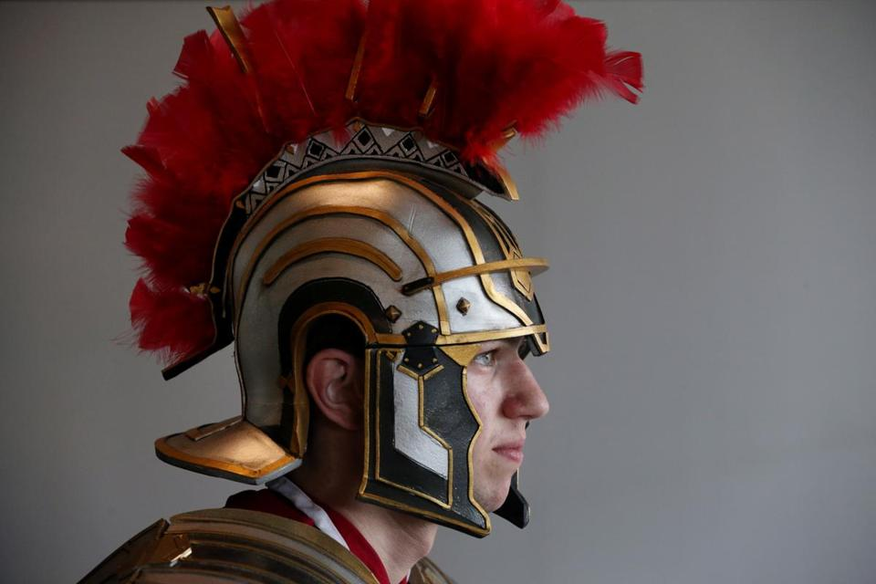 "Ry Brooks, 19, of Rollinsford, N.H., dressed as Marcus from the game ""Rising Son of Rome."" The history buff said he made the costume and helmet himself."